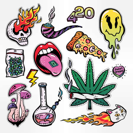 weeds: Fashion patch badges set with trippy drug theme.