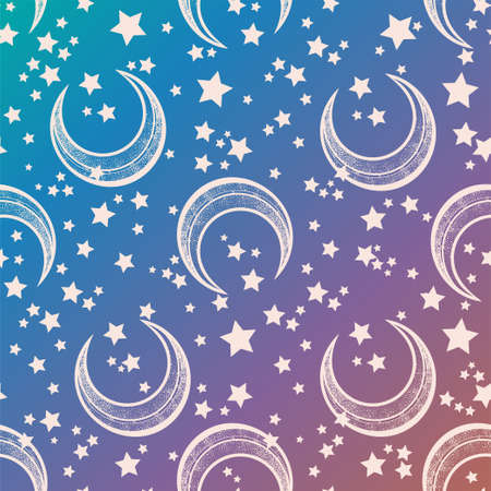 gothic style: Crescent moon vector seamless pattern with stars. Illustration