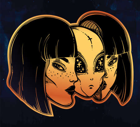 tattoo girl: Alien from outer space face in disguise as a girl. Illustration
