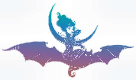 Sexy witch girl flyng on a bat over the moon. Illustration