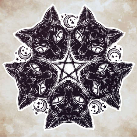 wierd: Black cat head portrait madnala, moon, pentagram.