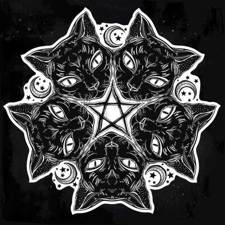 spook: Black cat head portrait madnala, moon, pentagram.