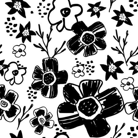 memphis: Seamless pattern with cute naive florals . Illustration