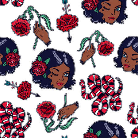 biracial: Seamless pattern with sexy girl, flash elements.