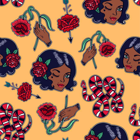 rose: Seamless pattern with sexy girl, flash elements.