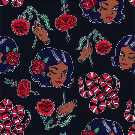 biracial: Seamless pattern with sexy dark girl, femininity related classic flash tattoo style elements. Design for textiles and print in 90s comic style. Pop art item. Fashionable vintage repeating background.