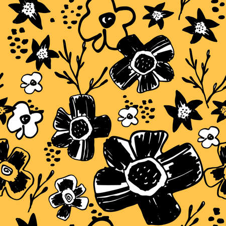 memphis: Seamless pattern with cute naive florals . Stock Photo