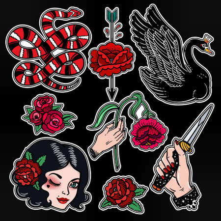 femme fatale: Set of femme fatale classic flash style patches.