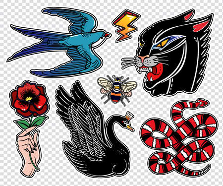 stitched: Set of animals and items in classic flash style patches.