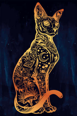 Vintage style cat with body flash art tattoos. Illustration