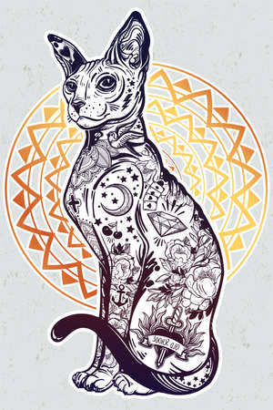 wierd: Vintage style cat with body flash art tattoos. Illustration