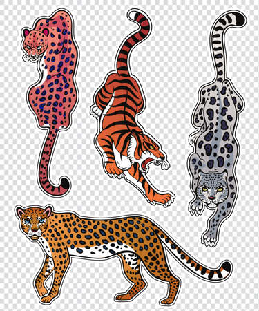 Set of wild Cat flash tattoo patches or elements.
