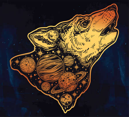 Double exposure wolf howling at moon, outer space. Illustration