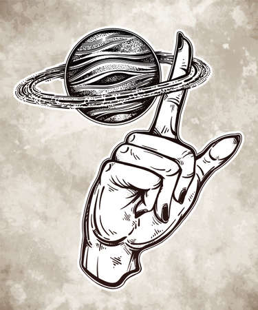 Flash Astronomy. Human hand, finger spinning Saturn space planet, celestial drawing. Dotwork ink tattoo vintage design.