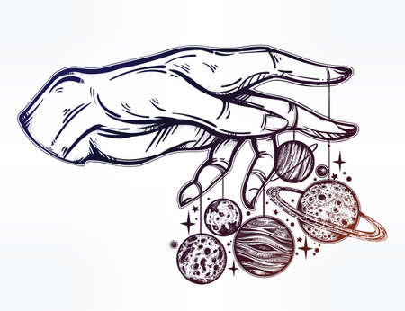 Human hand, marionette puppet planets illustration Illustration