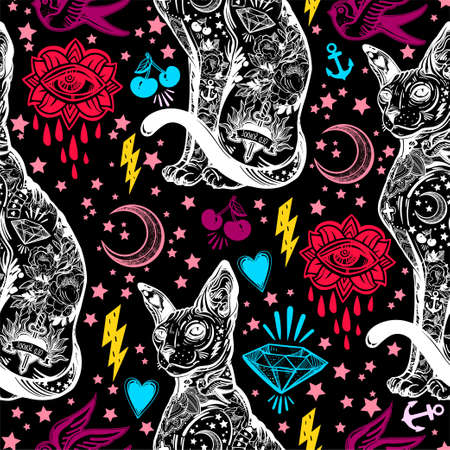 Vintage cat traditional tattoo seamless pattern.