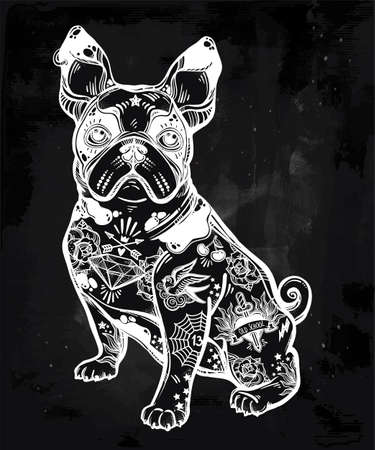 drawing pin: Vintage bulldog or pug decorated in flash tattoos. Illustration