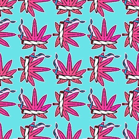 stoned: Cute weed marijuana seamless pattern background.