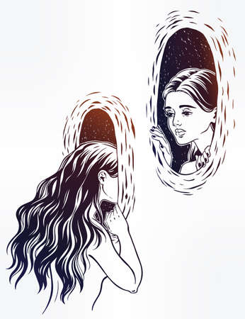 Girl looking through the magic wormhole.