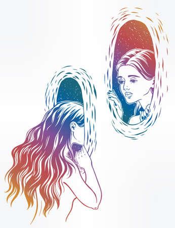 wormhole: Girl looking through the magic wormhole.