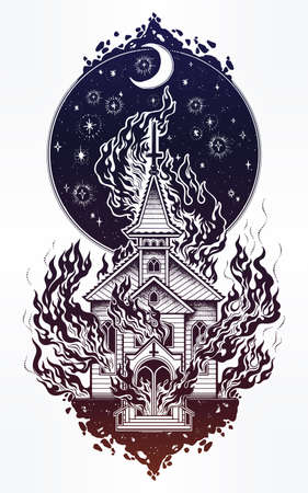 religious clothing: Burning Church with moon flash tattoo dot work art