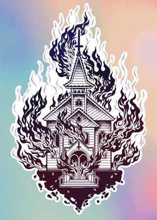 Burning Church flash tattoo dot work art.