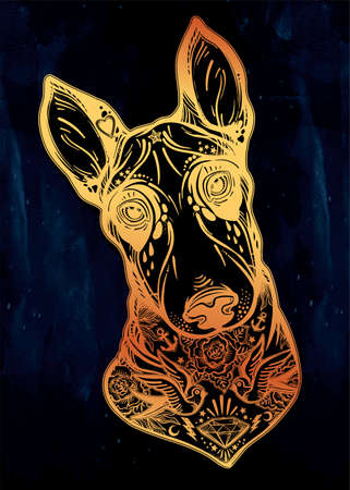 Vintage style Bull terrier in flash art tattoos. Stock Photo