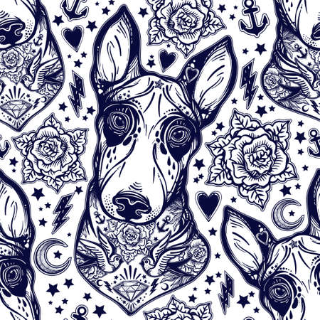 rose tattoo: Vintage style traditional tattoo flash Bull terrier dog seamless doodle pattern with roses. Trendy stylish texture. Repeating old school tile artwork for print, textiles. Isolated vector illustration. Illustration
