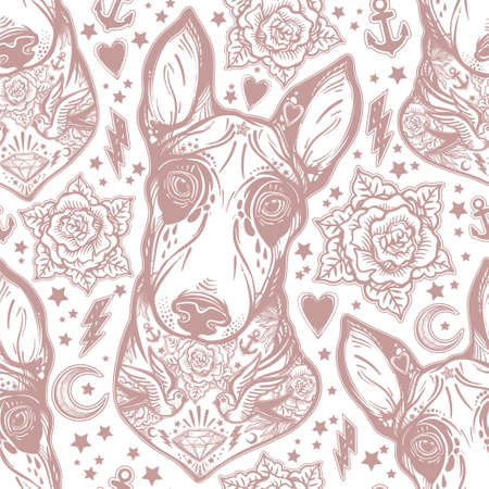 rose tattoo: Vintage style traditional tattoo flash bull terrier dog seamless doodle pattern with roses.