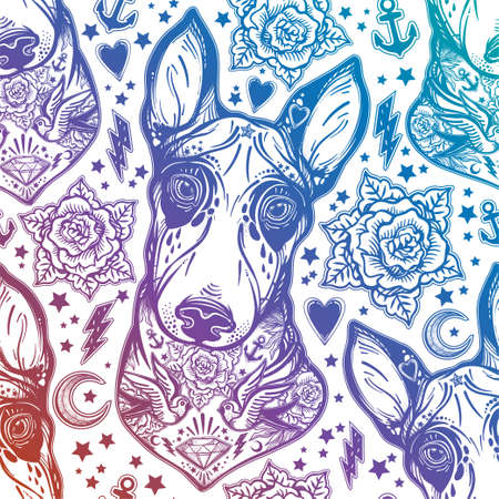rose tattoo: Flash Bull terrier dog seamless pattern and roses.