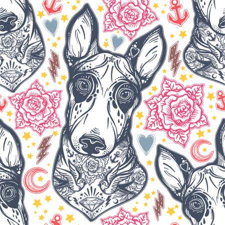 rose tattoo: Vintage style traditional tattoo flash Bull terrier dog. Illustration