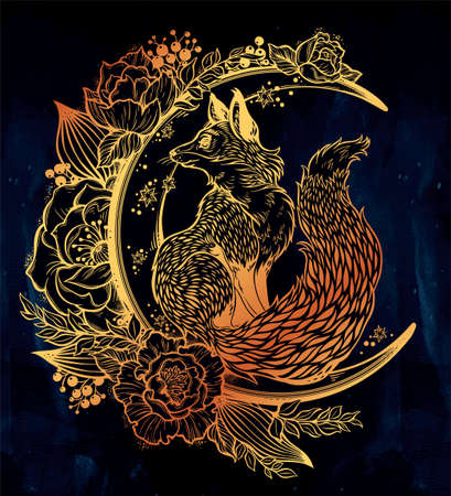 rose tattoo: Fox on night floral crescent moon in vintage style.