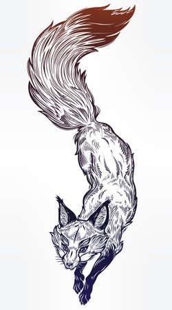 Wild jumping fox vector line art on white background.