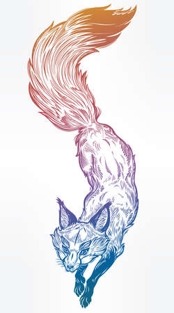 Wild jumping fox vector line art on white background.