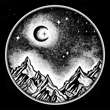 range: Hand drawn nature night sky mountains landscape. Stock Photo