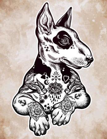 Vintage style bull terrier in flash art tattoos
