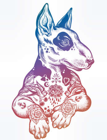 Vintage style Bull terrier in flash art tattoos on white background.