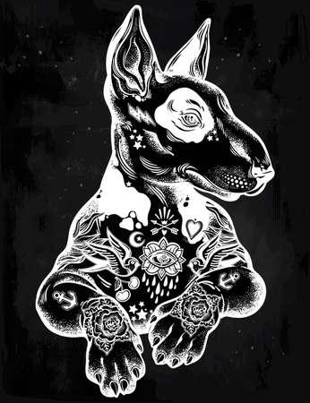 Vintage style Bull terrier in flash art tattoos. Illustration