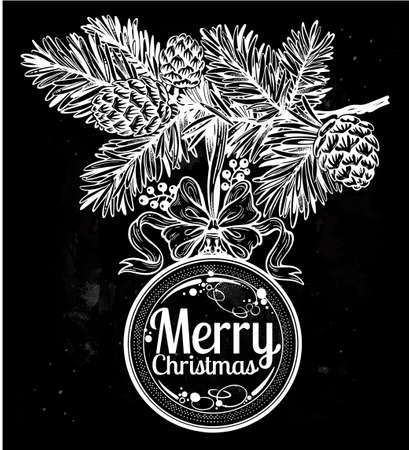 Ornate Merry Christmas greetings. Lovely holiday element. Feastive season artwork. Vintage card with glass ball on Xmas pine tree branch. Isolated vector illustration.