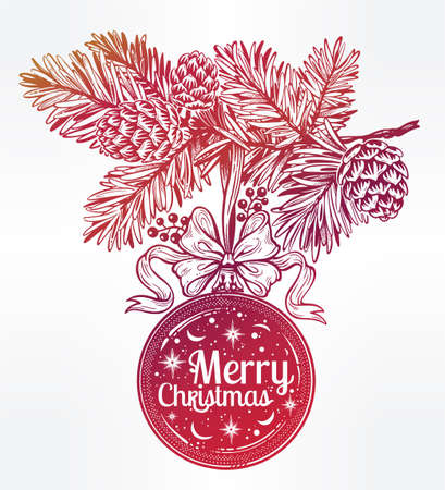 Feastive season artwork. Vintage card with glass ball on Xmas pine tree branch. Ornate Merry Christmas greetings. Lovely holiday element. Isolated vector illustration. Stock Photo