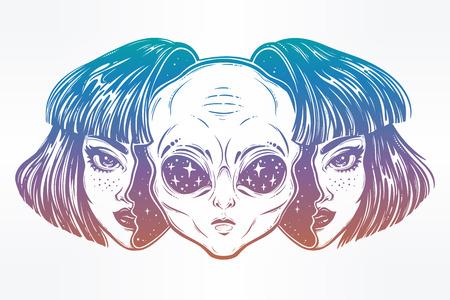 女の子として変装で顔を宇宙からエイリアンします。 写真素材
