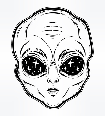 Vector illustration with a Alien head with starry eyes.