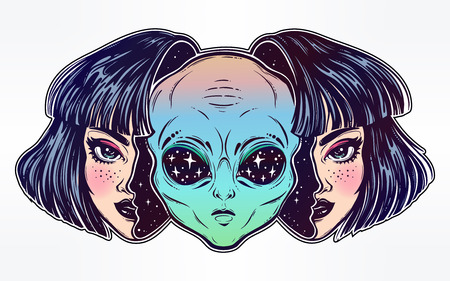 Alien from outer space face in disguise as a girl. Illustration