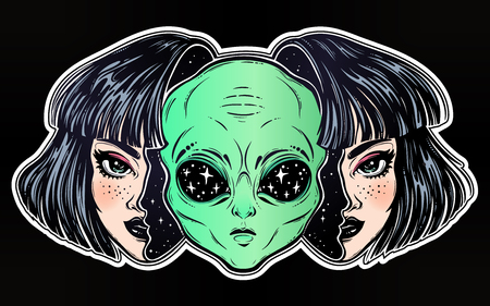 Alien from outer space face in disguise as a girl. Ilustrace