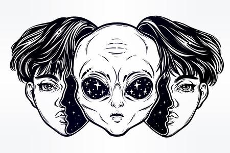 우주 공간에서 외계인은 소년으로 변장합니다.