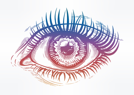 Beautiful realistic eye of a human girl with highly detailed pupil, iris and long dramatic eyelashes. Isolated vector illustration. Emotional expression, sticker, tattoo art. 일러스트