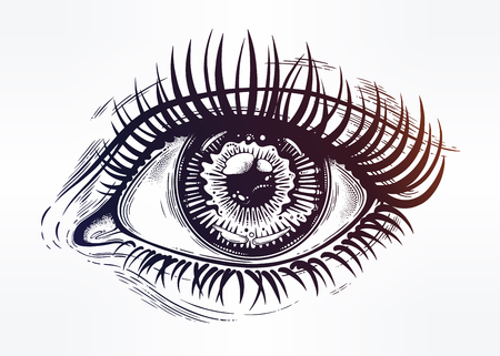 Beautiful realistic eye of a human girl with highly detialed pupil, iris and long dramatic eyelashes. Isolated vector illustration. Emotional expression, sticker, tattoo art. Trendy print. Ilustracja