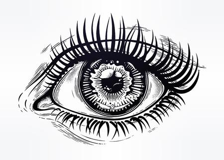 Bel oeil réaliste d'une fille humaine avec pupille hautement detialed, iris et longs cils dramatiques. Illustration vectorielle isolée Expression émotionnelle, autocollant, art de tatouage. Impression à la mode. Banque d'images - 91302435