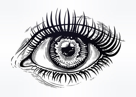 Beautiful realistic eye of a human girl with highly detialed pupil, iris and long dramatic eyelashes. Isolated vector illustration. Emotional expression, sticker, tattoo art. Trendy print. Vettoriali