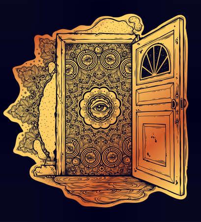 Open door into imagination or a dream, vector illustration.